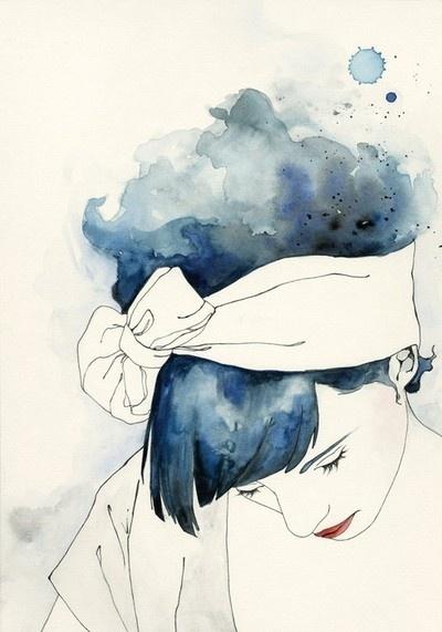 Inspiration, Bluehair, Blue Hair, Watercolors Art, Fashion Illustration, Emma Leonard, Painting, Water Colors, Drawing
