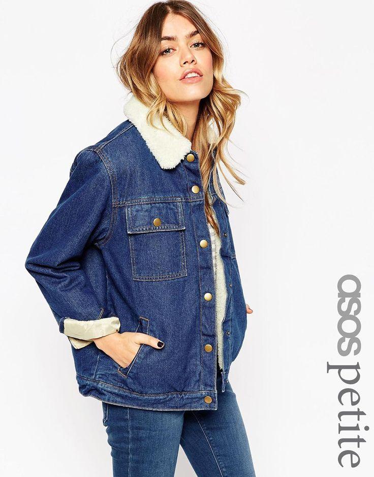 Image 1 - ASOS PETITE - Veste en jean avec doublure et col effet peau de mouton - Bleu riche