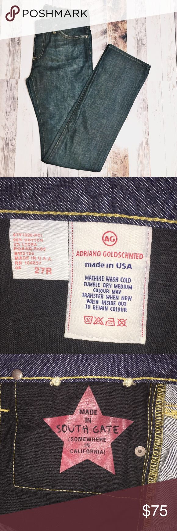 Adriana Goldschmied Distress dark wash blue jeans, mid rise, gold details back pockets, made in US, in like new condition. Women size 27 R AG Adriano Goldschmied Jeans Straight Leg