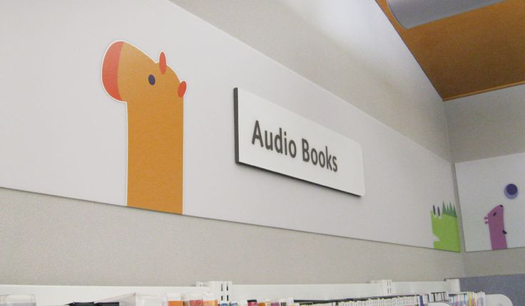 Cute wayfinding and identification in a Children's Library.