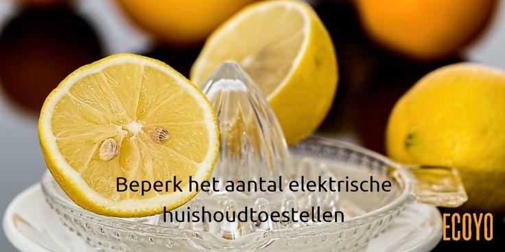 #ECOYO's tip van de dag: Beperk het aantal elektrische huishoudtoestellen  Geef in de mate van het mogelijke de voorkeur aan apparaten die geen stroom verbruiken:  handtandenborstel, handfruitpers, enz. En als u toch een toestel  koopt, opteer dan voor duurzame apparaten die zo weinig mogelijk energie verbruiken. Het zijn meestal niet de goedkoopste, maar ze staan vaak wel garant voor een langere levensduur #bespaarEnergie #SaveThePlanet #TipVandeDag #BeSustnbl