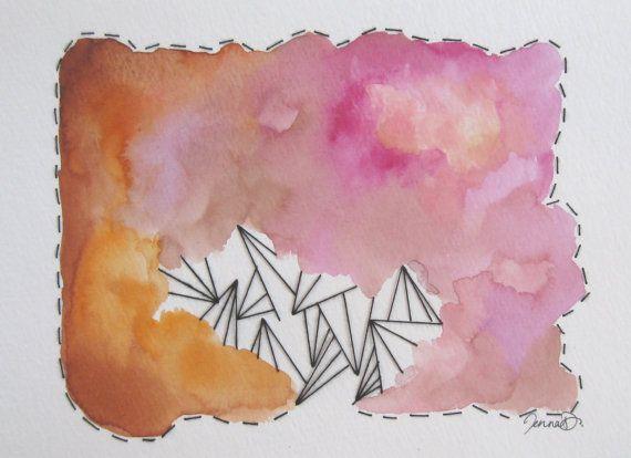 Watercolor + Fibers Painting / Original Fine by Jenna Decker MusicalColorStudio, $75.00