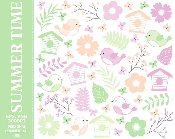 #Summer #Birds #Clipart - Birds, Bird House, Spring, Branches, Doodle, Flowers, Summer Clipart. Commercial and Personal use - Instant download graphics   This listing contains... #thecreativemill #clipart #digital #vector #summer #birds