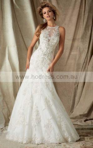Sheath Sleeveless Jewel Buttons Floor-length Wedding Dresses fhbf1015--Hodress