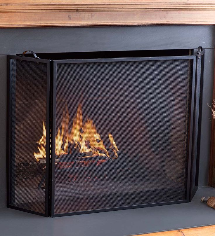 "Classic Tri-Fold Flat-Guard Fire Screen, 50""W x 30""H | Fireplace Screens"