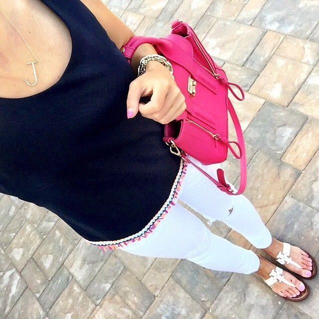 IG @mrscasual <click through to shop this look> Buckley K fringe top. Vigoss white skinny jeans. Tory burch Moore sandals. pashli. sideways initial necklace.