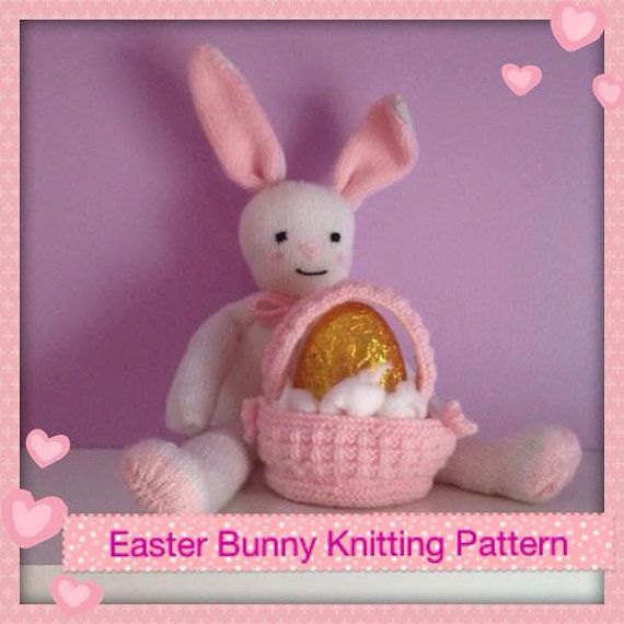 20 best knitting patterns toys images on pinterest knit patterns easter bunny knitting pattern with basket for by jessydknits negle Gallery