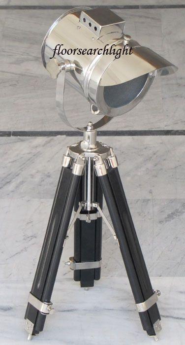 BEAUTIFUL NAUTICAL SPOT LIGHT TABLE LAMP STUDIO SEARCHLIGHT BLACK TRIPOD STAND