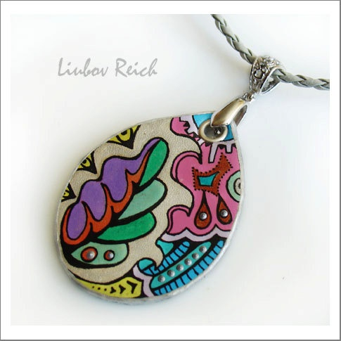 Hand Painted Leather Pendant  Leather Jewelry  OOAK  by Liukas, $22.00