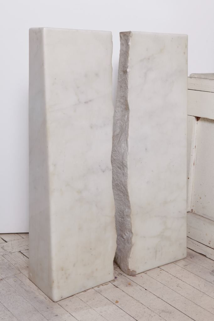 "Marble sculpture by Hanna Eshel, entitled ""Coming Together...Going Apart"", 1974, 21w x 7d x 28.5h, carrara marble, 1974"