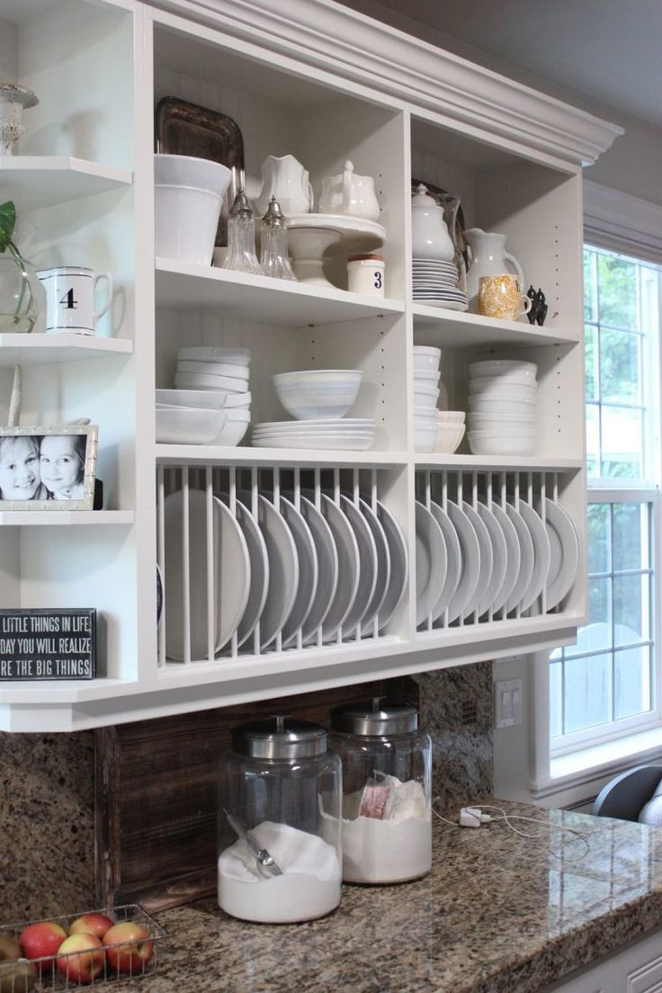 open kitchen cabinets is also a great alternative to standard upper cabinets that is perfect to become a plate rack