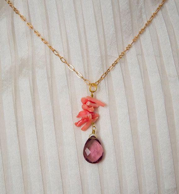 Summer Mood pink coral necklace Stellino Jewels by StellinoJewels