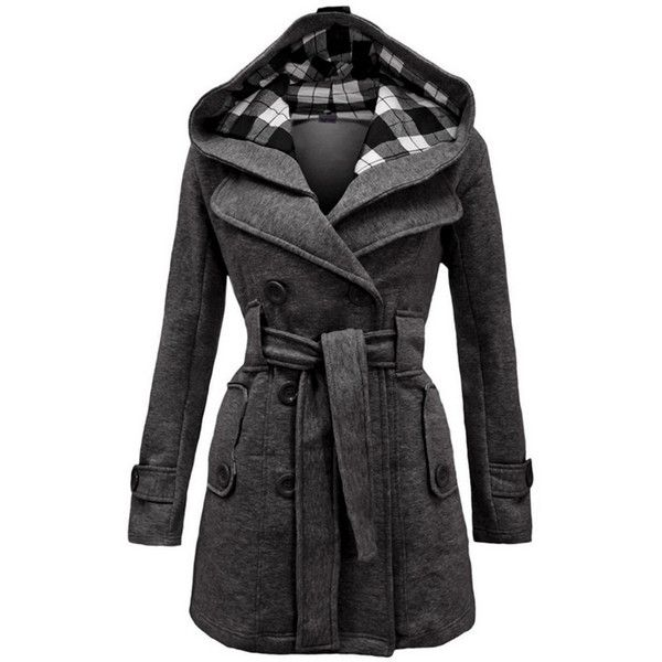 Fashion Plaid Double Breasted Hooded Coat with Belt ($41) ❤ liked on Polyvore featuring outerwear, coats, belt coat, double breasted hooded coat, hooded coat, belted coat and double-breasted coats