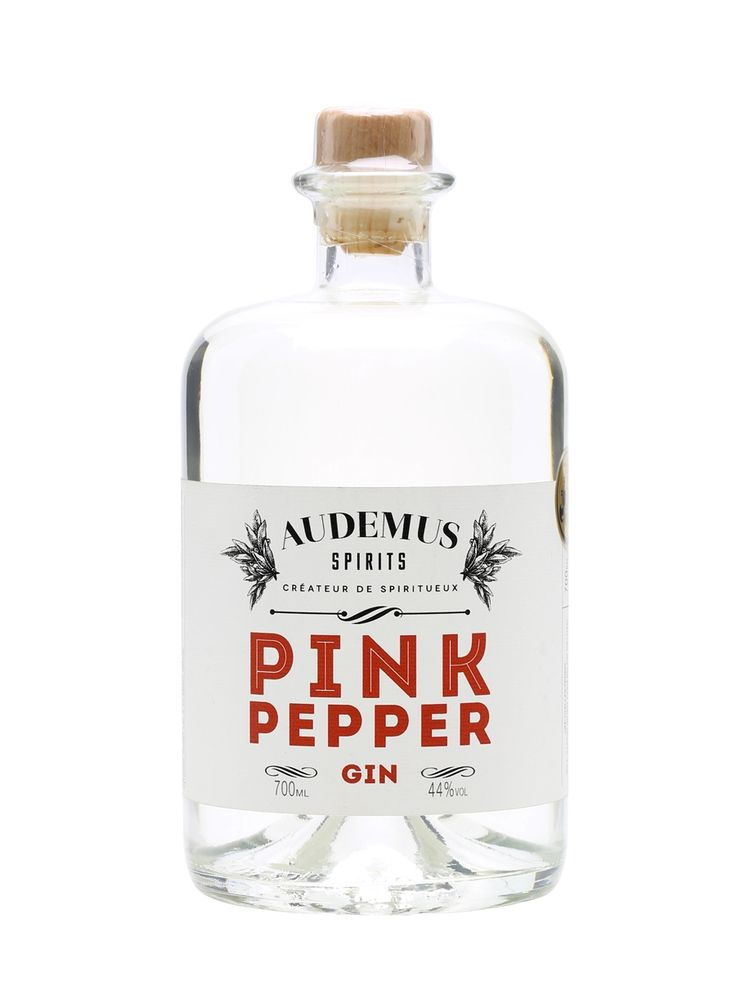 Audemus Pink Pepper Gin: botanicals include pink peppercorns, cardamom, juniper and local honey.