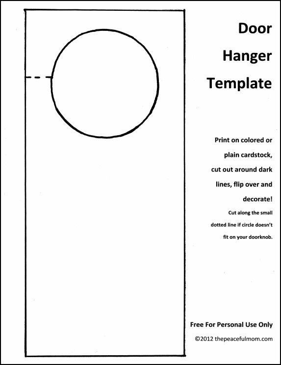 Door Hang Tag Template  PetitComingoutpolyCo