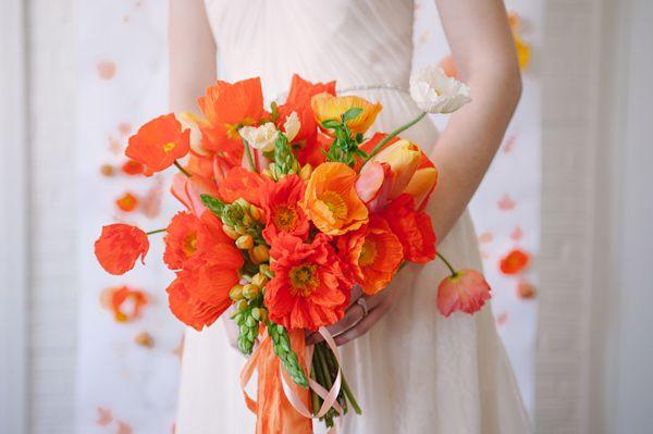 poppy wedding bouquet - photo by Sweet Root Village http://ruffledblog.com/orange-crush-wedding-ideas