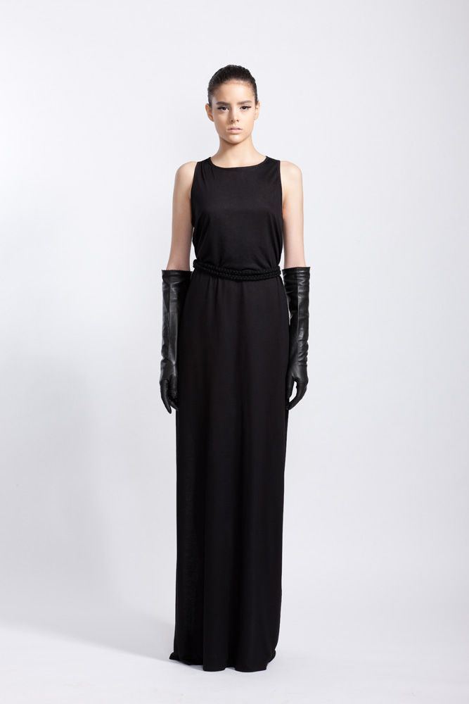 Black Silk Cotton and Chiffon Insert Dress and Long Leather Gloves // Fall 11 Photo : Macri Studio