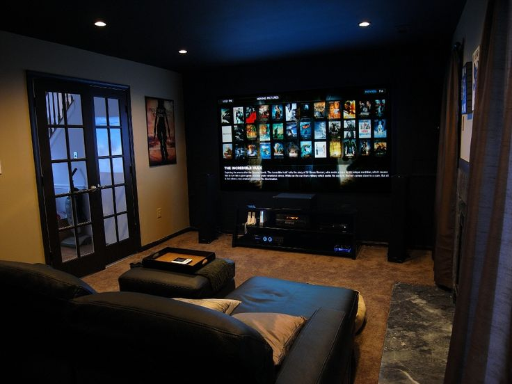 Small home theater- I love the dark wall color combo