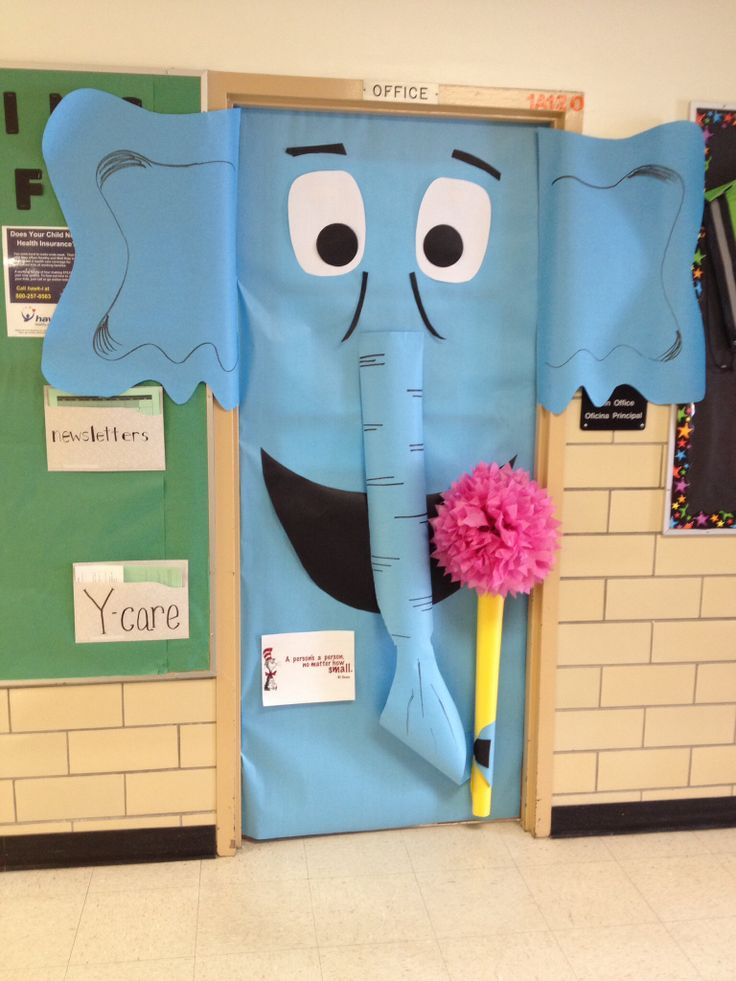 Horton Hears a Who door.  Dr Seuss birthday.  Read across America day.