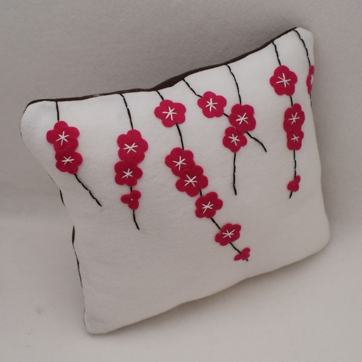 Items similar to Cherry Blossoms - Eco Felt Cushion Cover - 12x12 on Etsy. , via Etsy.