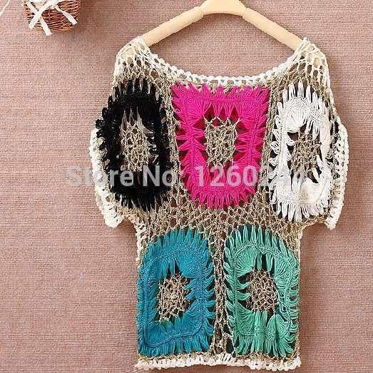 handarbeit gehäkelt pullover kittel 2014 frauen ethnischer aushöhlen farbblock pop-art fledermaus pullover blusas femininas inverno 2016