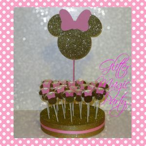 Minnie Mouse Light Pink And Gold Head Lollipops Or
