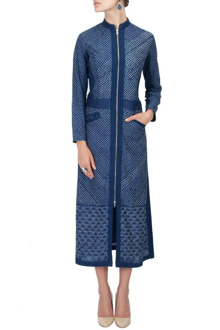 Blue bandhani long dress
