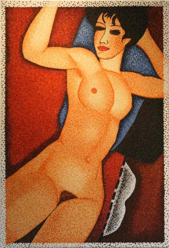 """#finearts, """"(slow-made) modigliani, red, 90° clockwise direction"""", 01. 2004, #pixelism - ca. 59.000 painted #pixels, acrylic on canvas, 84 x 125 cm, ■ = 4 x 4 mm, 33.07"""" x 49.21"""", ■ = 0.16"""" x 0.16""""."""