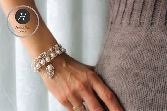 Vintage Bridal Pearl bracelet Victorian wedding crochet leaf