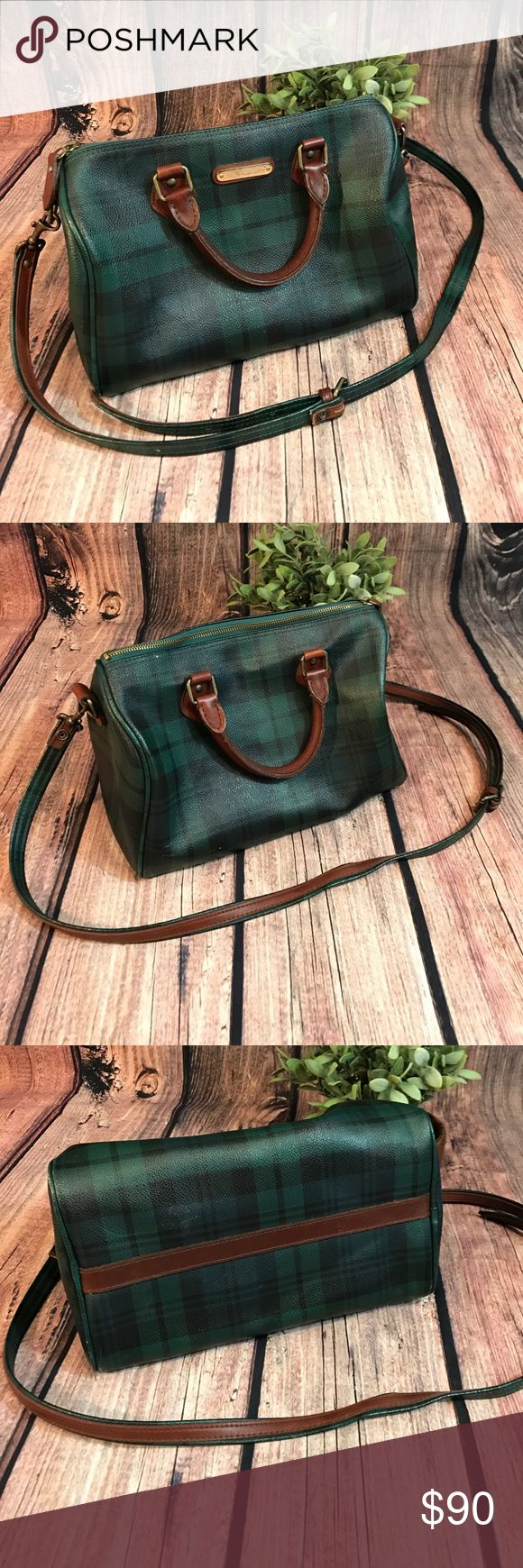 "Vintage Polo Ralph Lauren Doctor Bag Polo Ralph Lauren Doctor Bag in Tartan Plaid Speedy Boston Purse Vintage. Bag length 12"" strap drop Material canvas and leather. Used condition. Approximately 11 1/2"" long. 8"" tall 7"" wide. Polo by Ralph Lauren Bags"