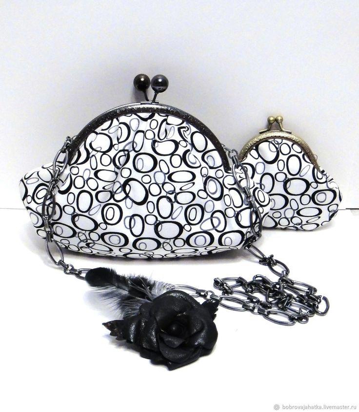 Купить Женская сумка кошелек Брошь Роза Черное белое Круги Подарок подруге
