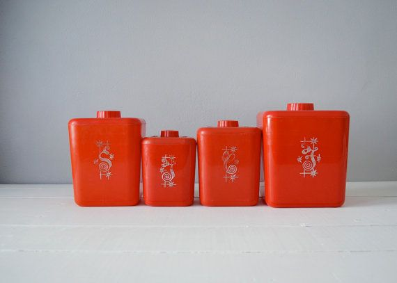 Vintage Kitchen Canisters - Nesting Canister Set - Red Kitchen Canisters - Red Kitchen Decor - Plastic Canisters - Flour and Sugar Canisters...