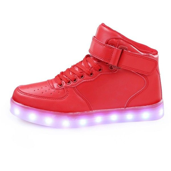 SAGUARO(TM)Unisex Boys Girls Womens Mens High Top Light Up Shoes LED... ($14) ❤ liked on Polyvore featuring men's fashion, men's shoes, men's sneakers, mens wide shoes, mens high top shoes, mens hi tops, mens wide width shoes and mens high tops