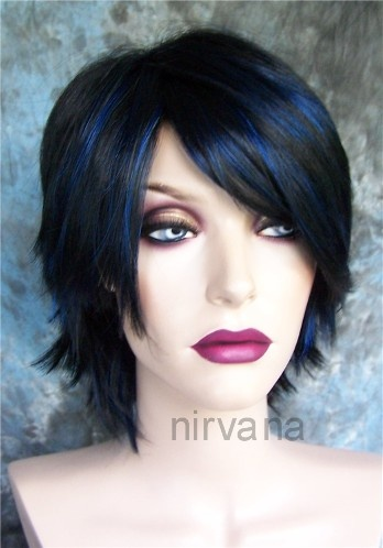 Blue Highlights Highlights And Black Hair On Pinterest