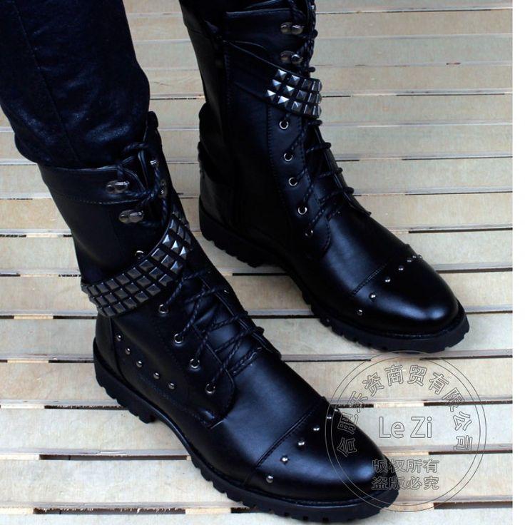 Metal-Decoration-Belt-Spring-Autumn-Funky-Biker-Boots-Men-Ankle-Gothic-Shoes-Rivets-Tie-Up-High.jpg (801×801)