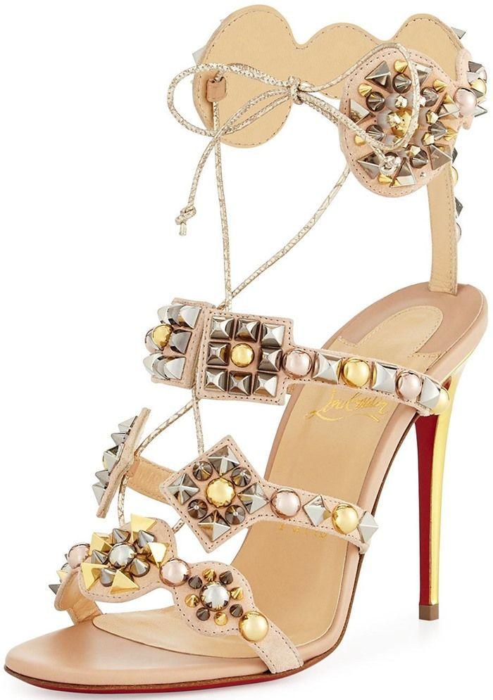 231230ff09aa93 Christian Louboutins Glittering Kaleikita Spiked Sandals Angela Simmons,  New York Fashion, Milan Fashion,