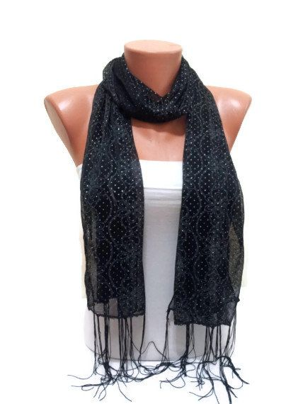 Black scarf with Crystals. Black scarf. by TrendyScarf on Etsy, $9.99