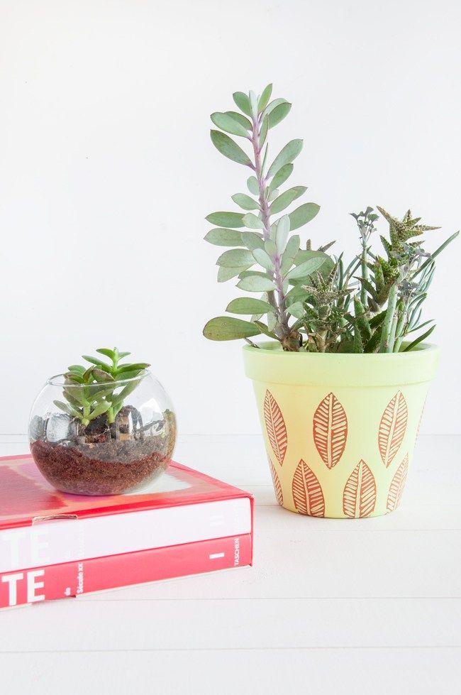 DIY vaso pintado a mão com folhas