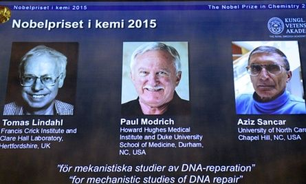 Nobel prize for chemistry: Lindahl, Modrich and Sancar win for DNA research | Science | The Guardian