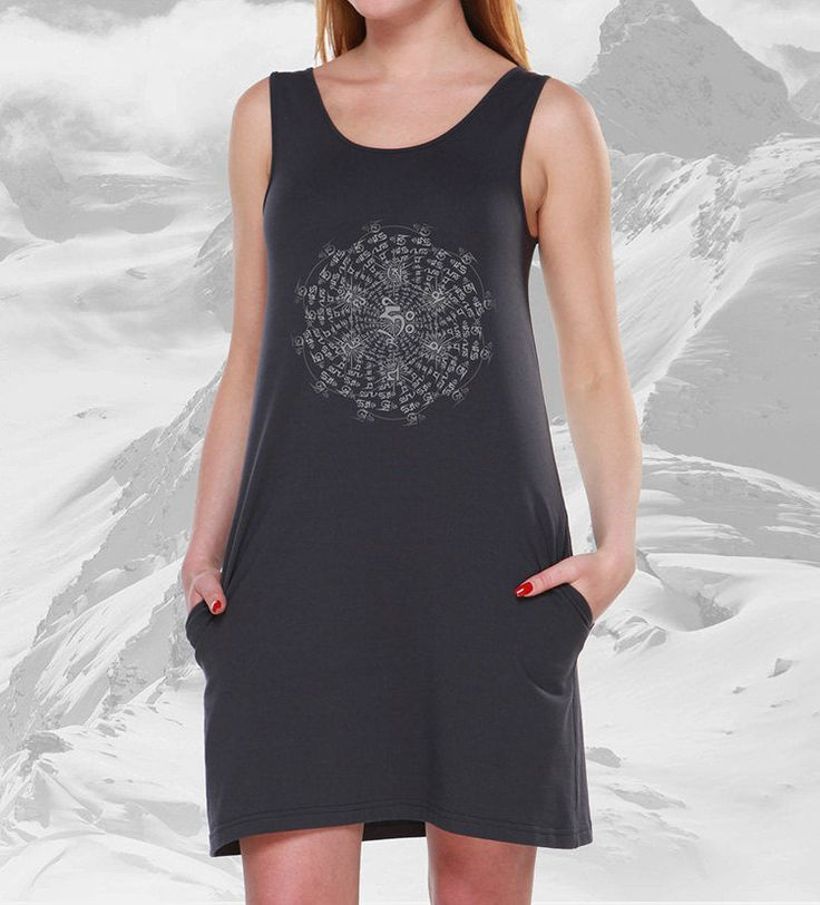 OM Long Tank Top Dress, Pocket Dress, psy dress, Festival Clothing, Burning man, star by GavRpro on Etsy Женское платье