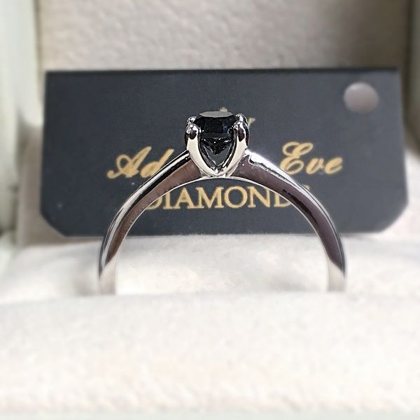 18k White Gold Engagement Ring with Solitaire Brilliant Cut Black Diamond 0.47ct - Adam & Eve Diamonds - 1.213 $