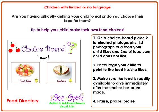 I thought ths might help for all those trying to get their child to eat or encourage them to make their own food choices.  Children and adults with Autism Spectrum Disorders, limited or no language and learning difficulties.