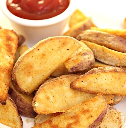 Red potato wedges. I used coconut flour instead of regular flour