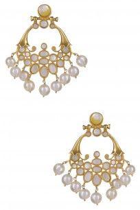 Gold Plated Mother Of Pearl Cabochons Chandbali Earrings #GOLDPLATED #traditional #Motherofopearl #Earrings #Ahilyajewels #perniaspopupshop #happyshop #shopnow