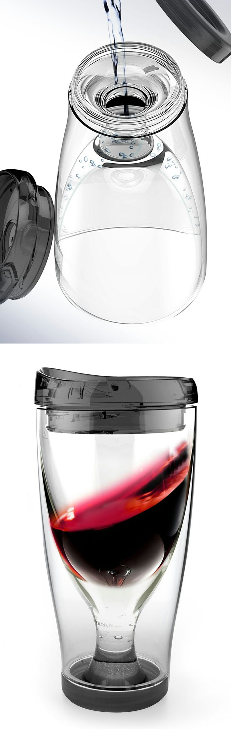 Wine 2 go travel cup // simply fill the bottom with water and freeze to keep your vino chilled in ice without watering it down! Genius! #product_design