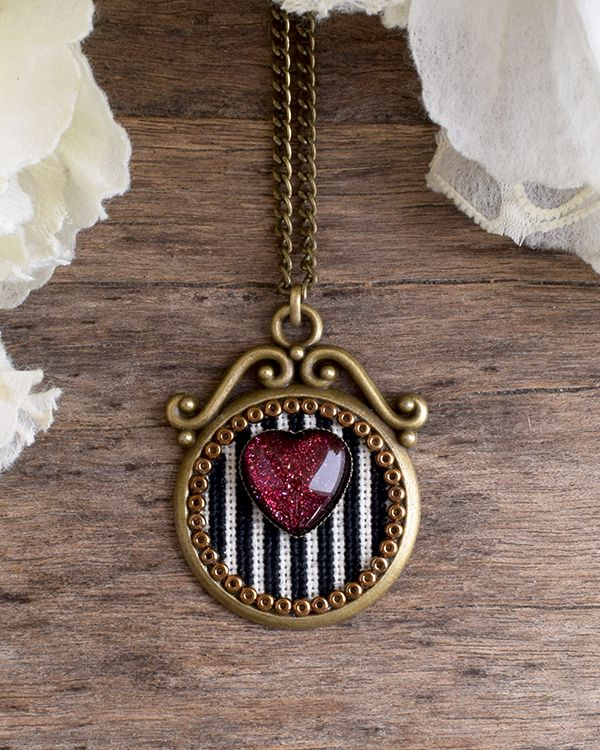 Heart and stripes necklace, Holographic red heart pendant, Black and white stripes embroidered necklace, Heart cross stitch pendant