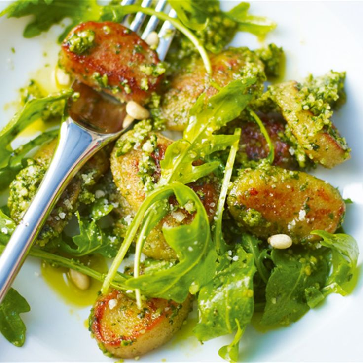 Try this Pan-fried Mascarpone Gnocchi with Dreamy Basil Pesto  recipe by Chef Lorraine Pascale. This recipe is from the show Lorraine's Fast Fresh