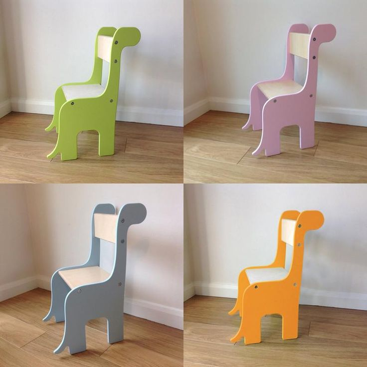 Brontosaurus Dinosaur handmade children's wooden chair. Available in a choice of colours. Suitable for ages 18 months – 8 years