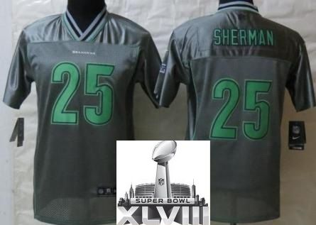 kids nike seattle seahawks 25 richard sherman elite grey vapor 2014 super bowl xlviii nfl jerseys