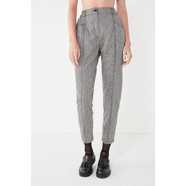 BDG Checkered Mom Pant ($64) ❤ liked on Polyvore featuring pants, white high waisted trousers, tapered pants, high waist pants, zip pants and elastic pants